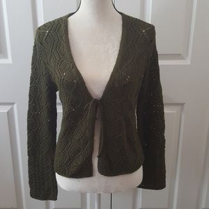The Limited size large green cardigan open knit